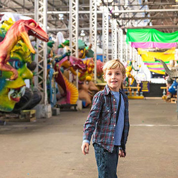 Boy at Mardi Gras World
