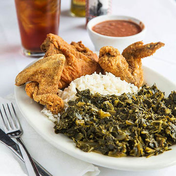 Fried chicken and collards