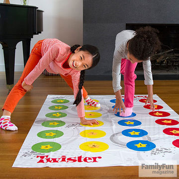 Two girls playing Twister