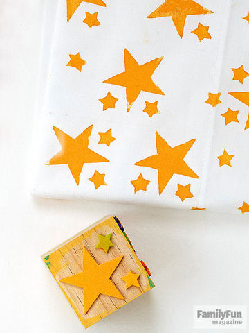 Yellow-star-stamped pillowcase and stamp