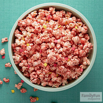 Pink popcorn in bowl