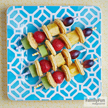 Plate of mini waffles and fruit on straws