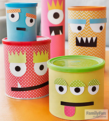 Five smiley-faced canisters