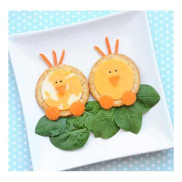 Healthy easter snack ideas for kids chick cheese crackers negle