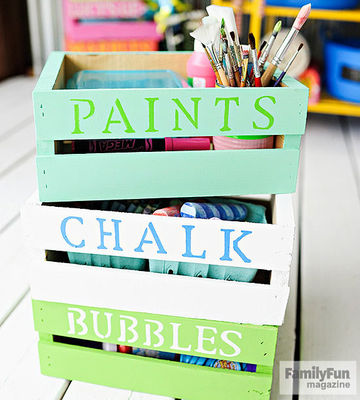 Stack of colorful labeled fruit crates