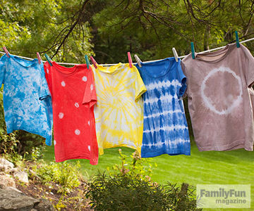 Clothesline with five tie-dyed shirts