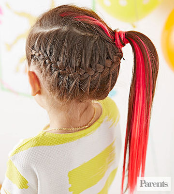 girl with braided side ponytail