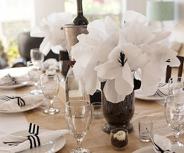 Coffee Beans & Crepe Paper Flower Centerpieces