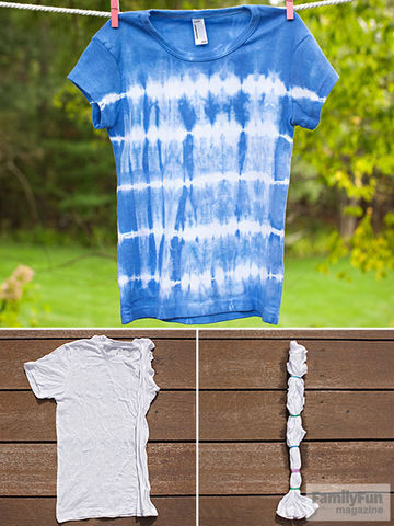 Blue tie-dye-striped t-shirt