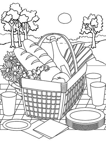 It's just a photo of Crazy Picnic Coloring Page