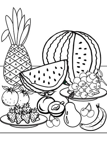 Fresh Fruit printable coloring page