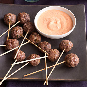 Meatball Pops with Roasted Red Pepper–Feta Dip