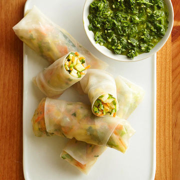 Veggie Spring Rolls with Chimichurri Sauce