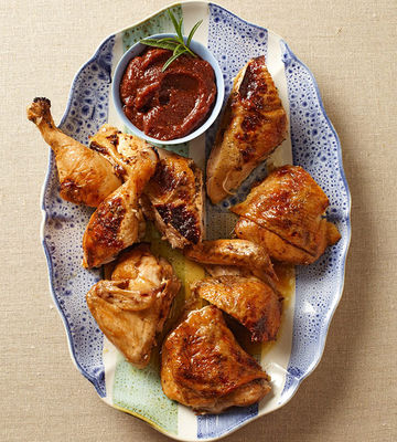 Butterflied Rosemary Chicken with Fig Dipping Sauce