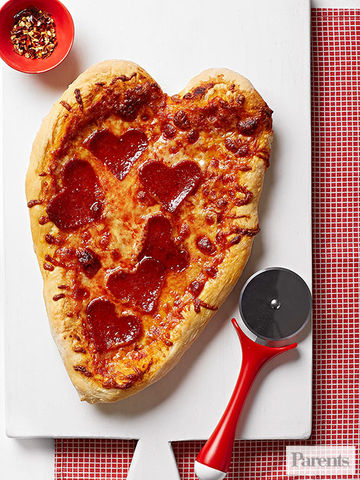 Pepperoni heart pizza