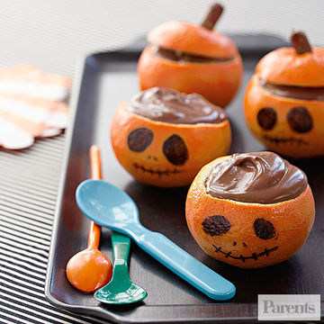 Chocolate pudding jack o lantern oranges