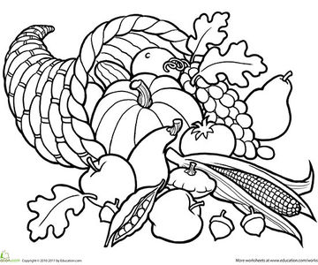 cornucopia printable coloring page - Fall Coloring Pages Printable
