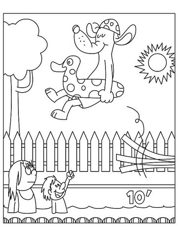 Poolside dog printable coloring page