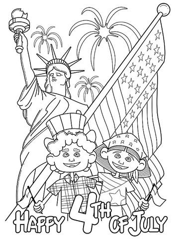 festive fourth of july printable coloring page - Summer Coloring Page