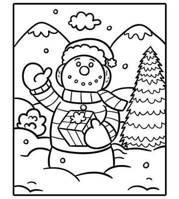 waving snowman - Holiday Coloring