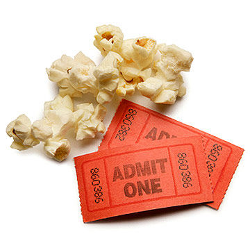 ticket and popcorn