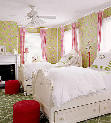 pink and green shared room
