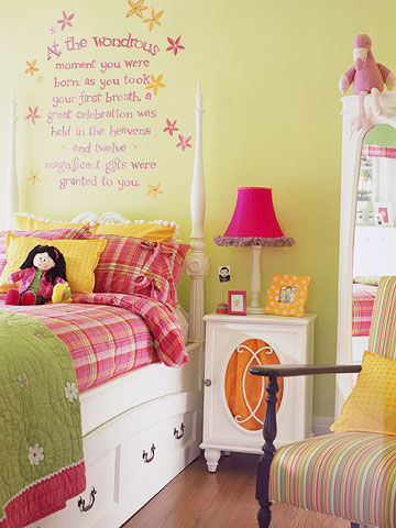 Green, Fuschia Girls Bedroom
