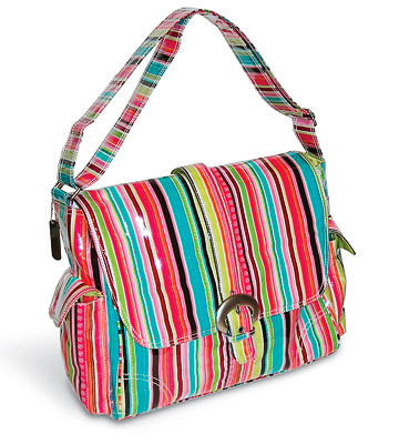 Plastic striped diaper bag