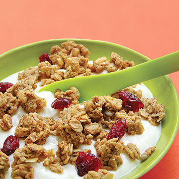 low-fat vanilla yogurt with low-fat granola and dried cranberries