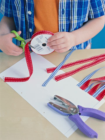 Boy making a patriotic craft