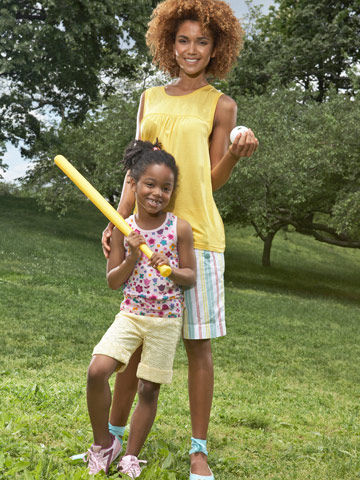 Mother and daughter ready to play wiffle ball