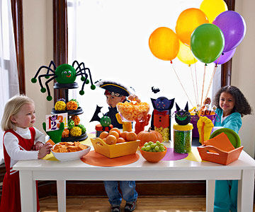 Little kids at decorated table