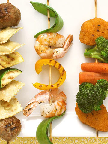 kiddie kabobs, shrimp, pea pods