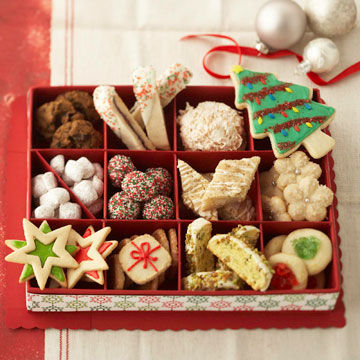 box of holiday cookies