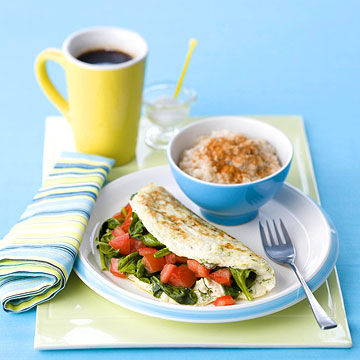 Veggie Omelet with oatmeal