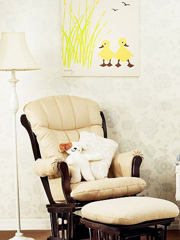 Amenity wall art, Better Homes and Gardens floor lamp, Dutailier glider and ottoman