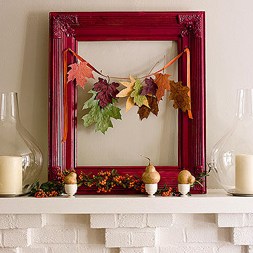 Red frame with leaves on mantle