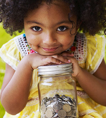 girl with change jar