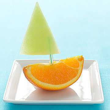 orange honeydew melon boat