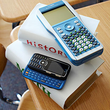 school books calculator and cell phone