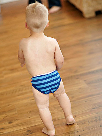 Toddler running in underwear