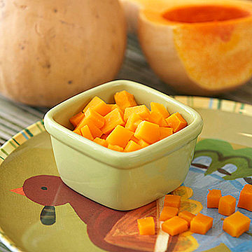 Cut up butternut squash on turkey plate