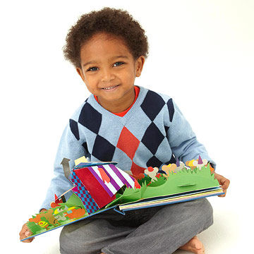 boy with popup book
