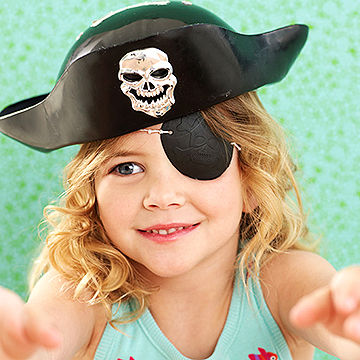 child pretending to be pirate