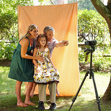 family filming a video