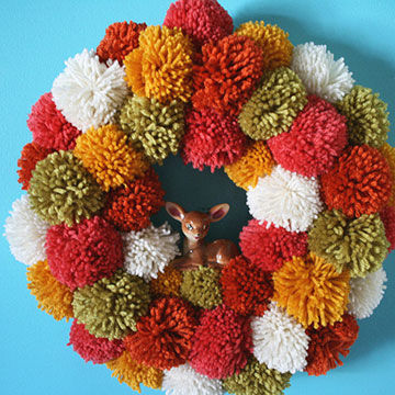 Pompom and deer wreath