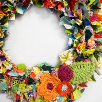 Colorful fabric wreath