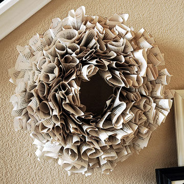 Book page paper wreath