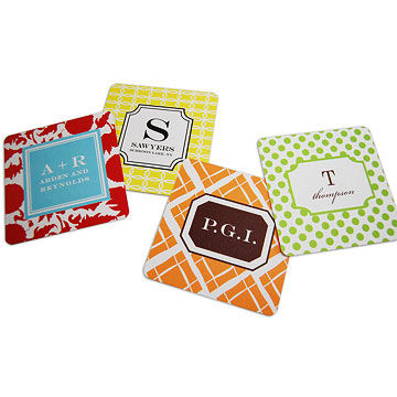 Personalized drink coasters