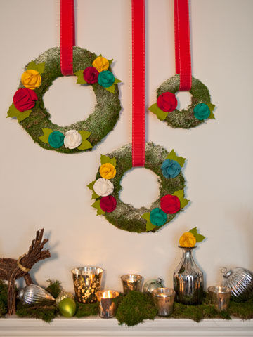 Moss and felt flower Christmas wreath
